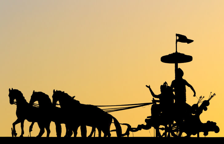 インドの馬車に乗った人たち