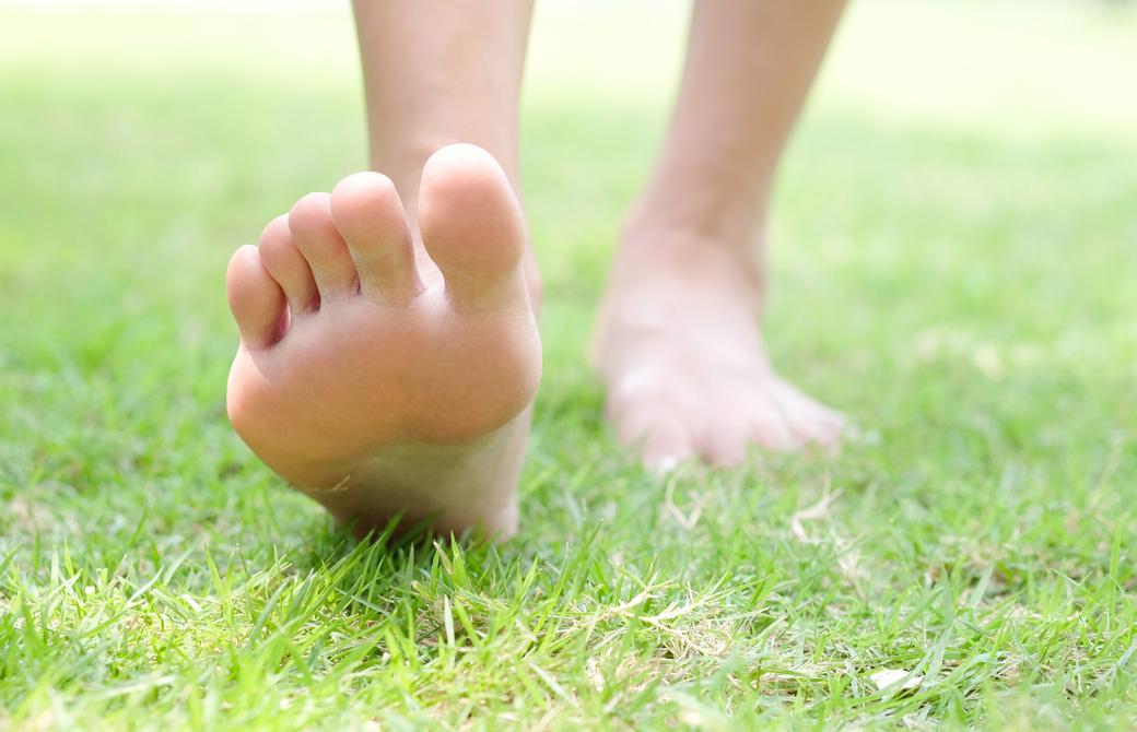 芝生の上で裸足の女性の足と足裏