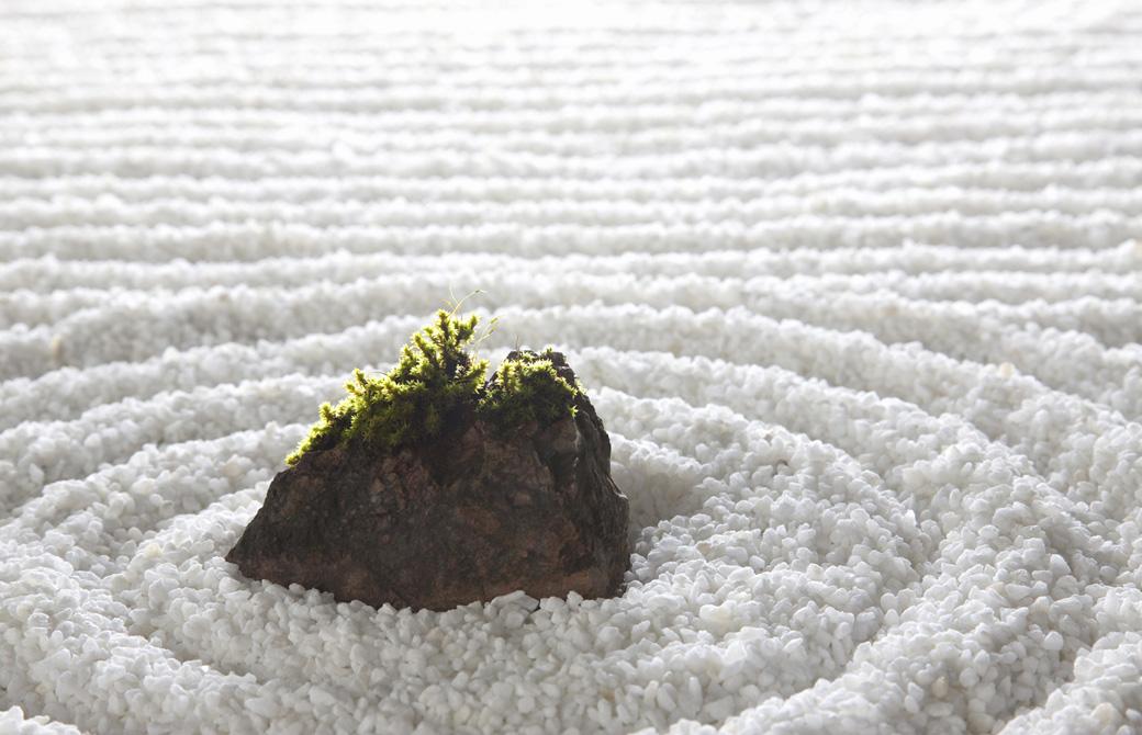 綺麗に描かれた砂模様の石庭
