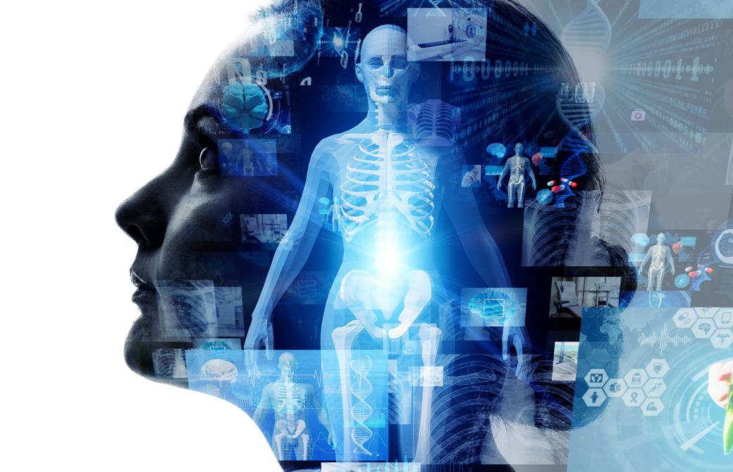 女性の横顔のシルエットと人体模型や化学記号
