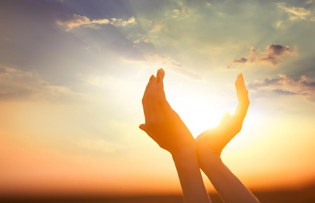夕陽に向って両手を翼のように合わせている様子