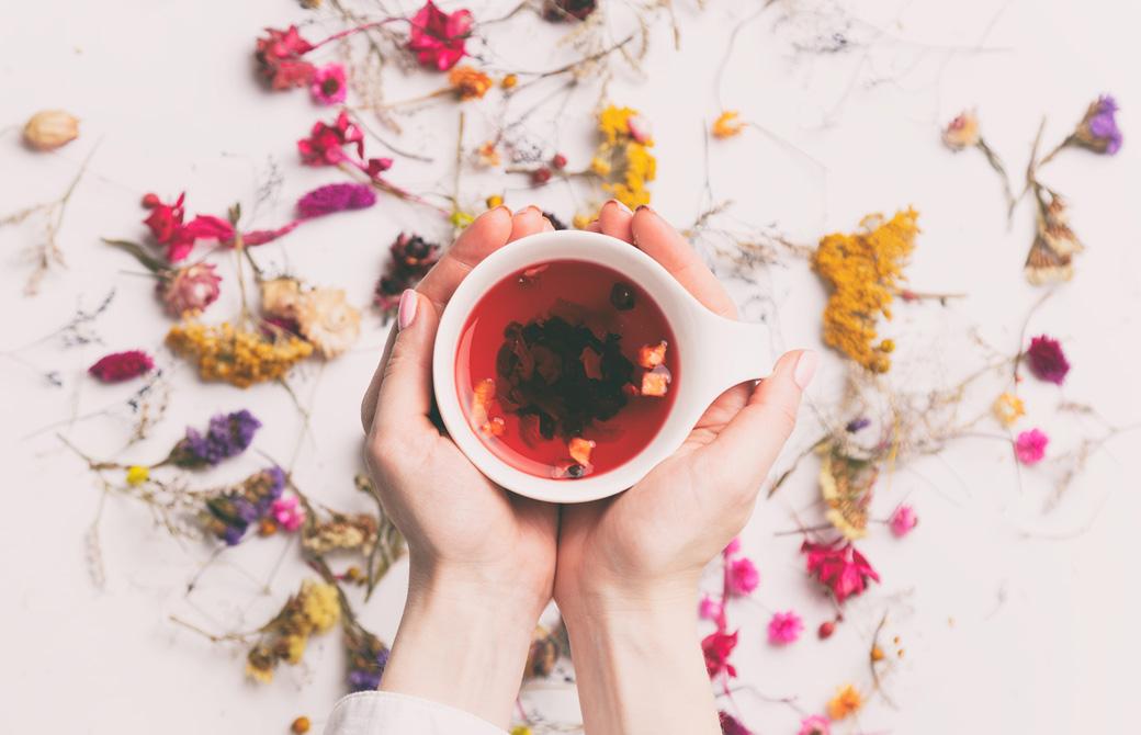 赤いハーブティーのカップを両手で持つ女性の手とちりばめられた可愛い花