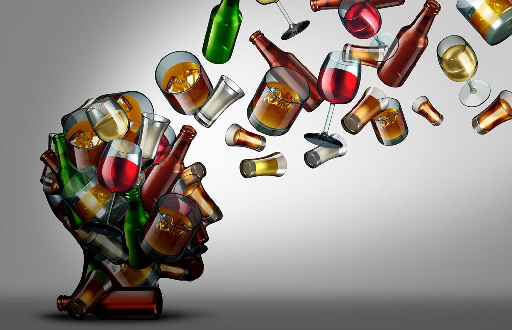 酒のボトルやグラスが頭の中にどんどん満たされていくイメージ画像