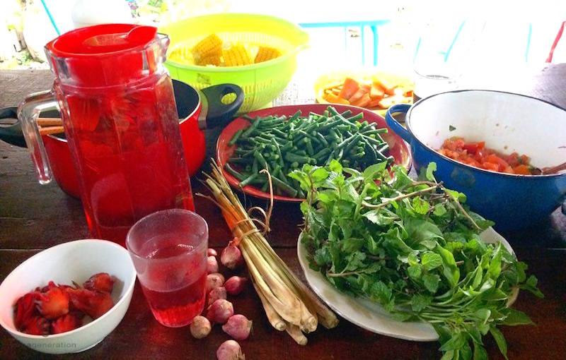 テーブルに乗ったいろいろな野菜