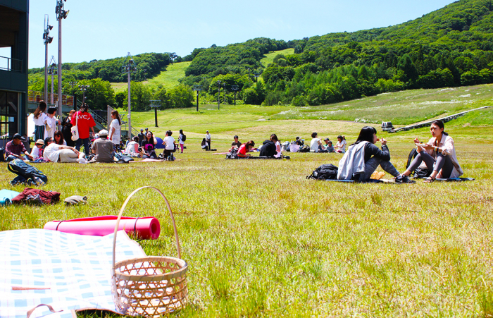 芝生で好きな時間を過ごす参加者たち