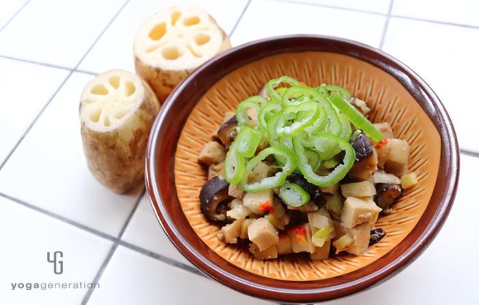 レンコンと高野豆腐のピリ辛味噌炒め