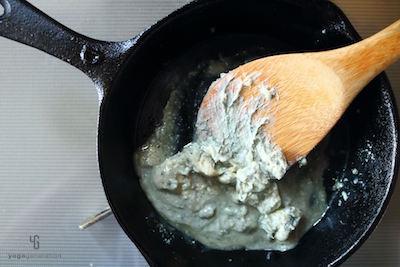 鍋で温めたブルーチーズ