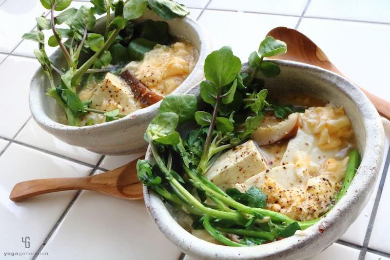 クレソンとお豆腐のふんわりたまごスープ