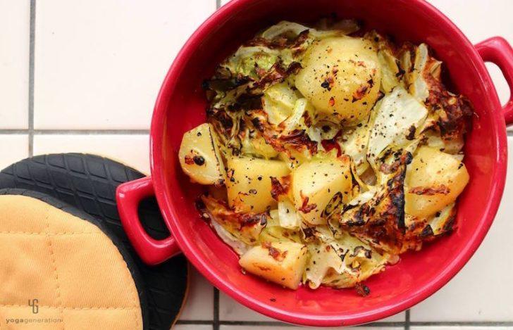 キャベツとジャガイモのアンチョビグリル