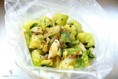 野菜とスパイスを混ぜたものを合わせる