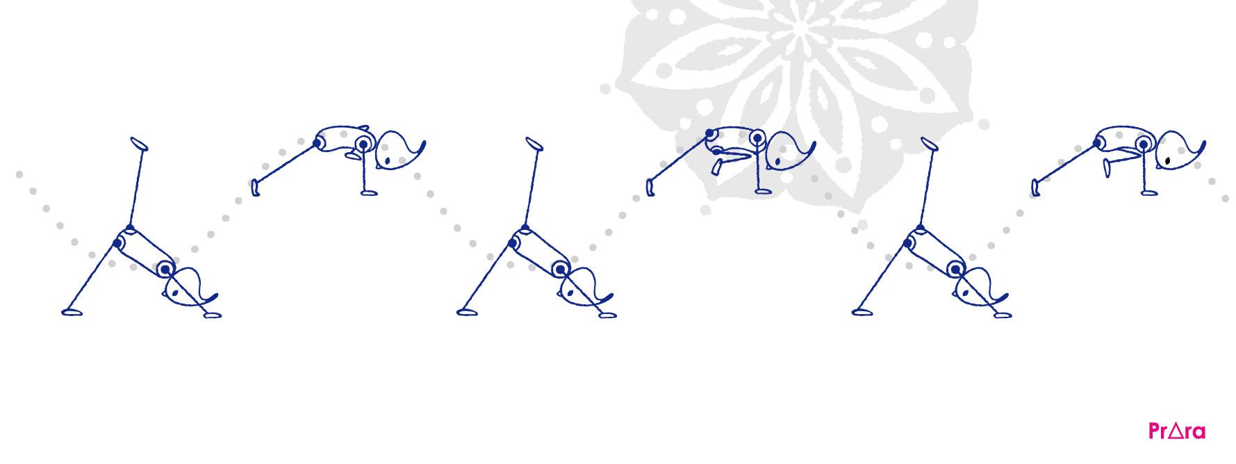 プラーラによる股関節を開く動き