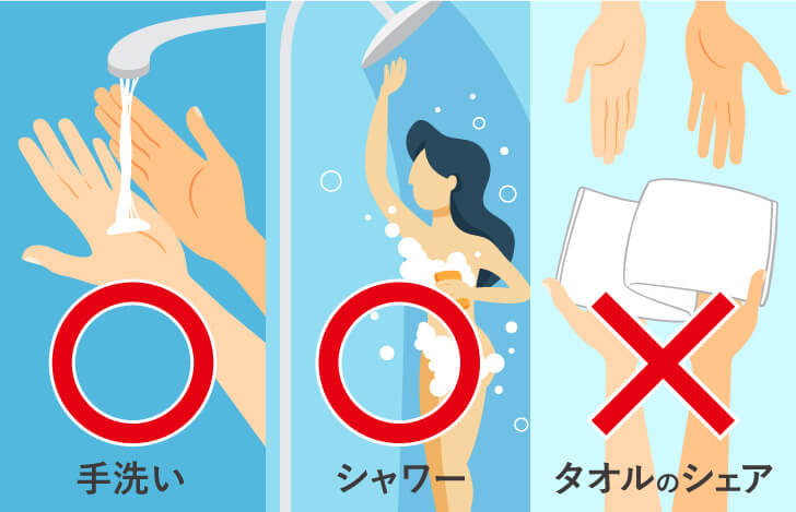 練習後に手洗いとシャワーをし、タオルなどをシェアしない