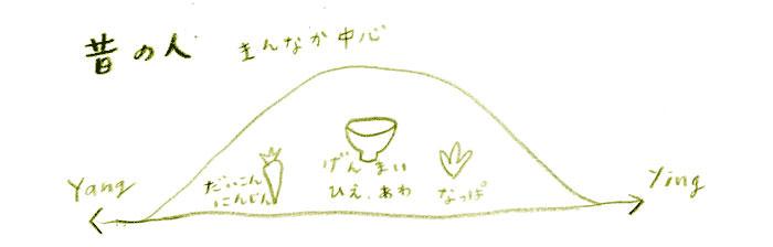 昔の人の食べ物の陰陽イメージ