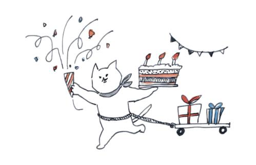 ネコが誕生日を祝う様子
