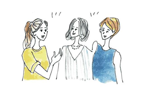 女の子3人が楽しそうに話す様子