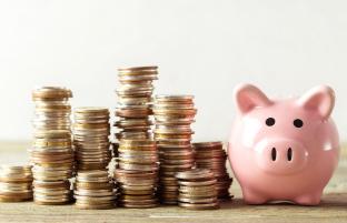 ピンクの豚の貯金箱の横にコインが並ぶ画像