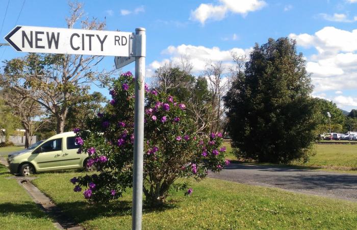 New cityと記載のある看板がたっている田舎町