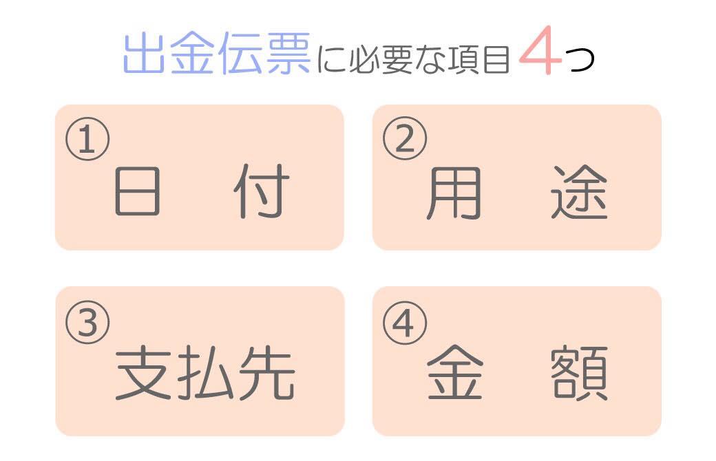 出金伝票に必要な4つの項目