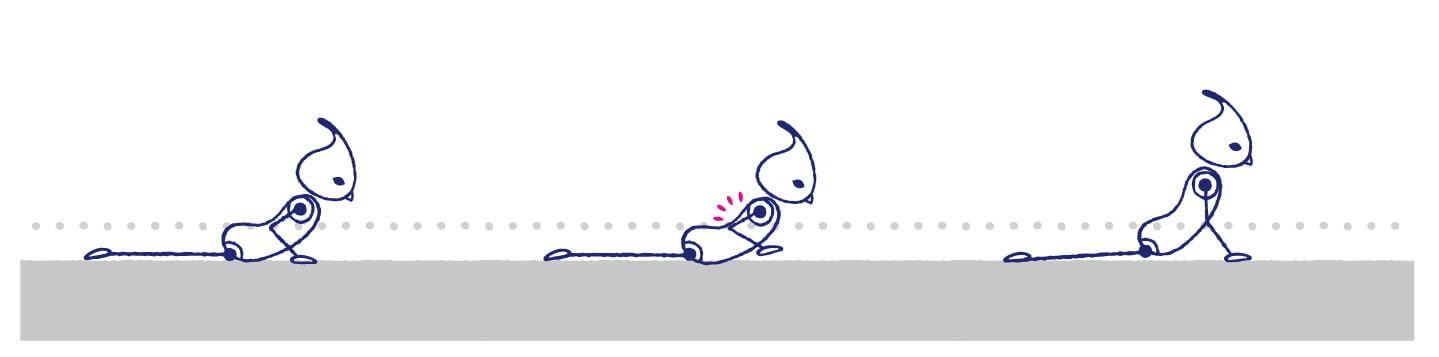 ベビーコブラで手を浮かせてみると、正しいポーズができているか確認できる