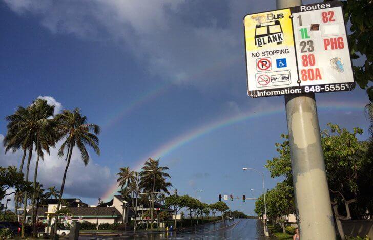 mahokoのブログ ハワイのダブルレインボーとバス停の表示