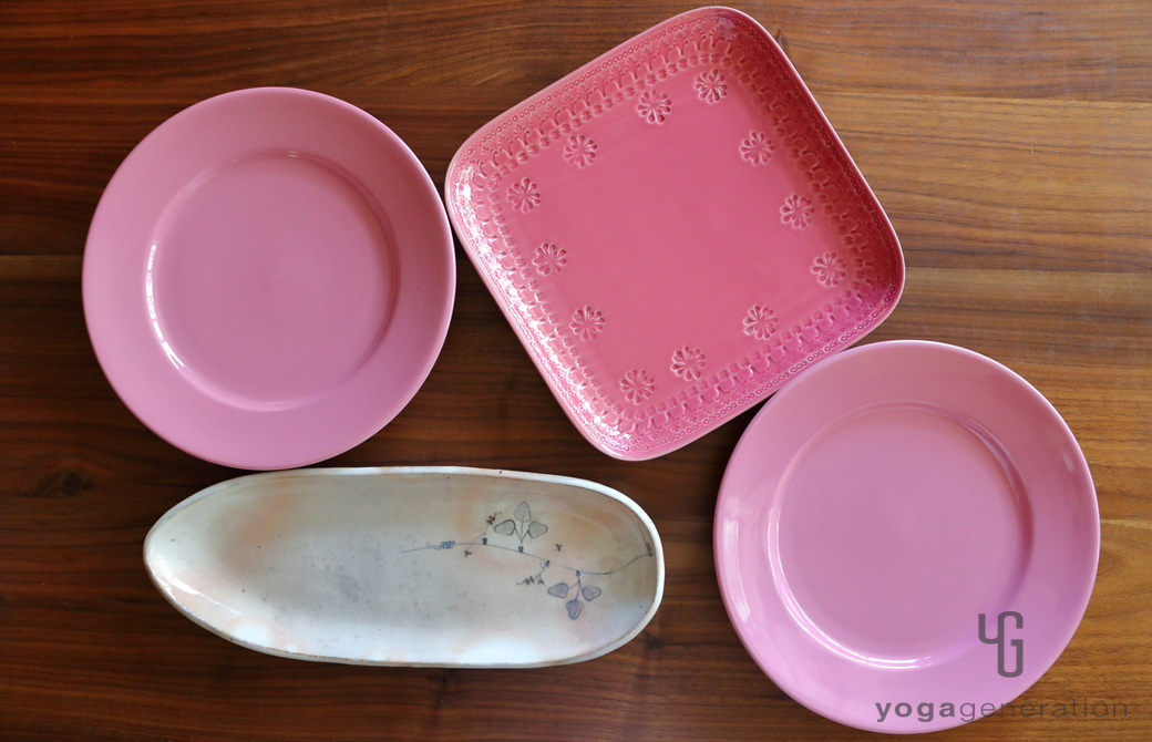 ピンク系のゆるベジプレート4枚