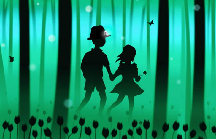 魔法の帽子をかぶり、幸せの青い鳥を探す旅に出るチルチルとミチル