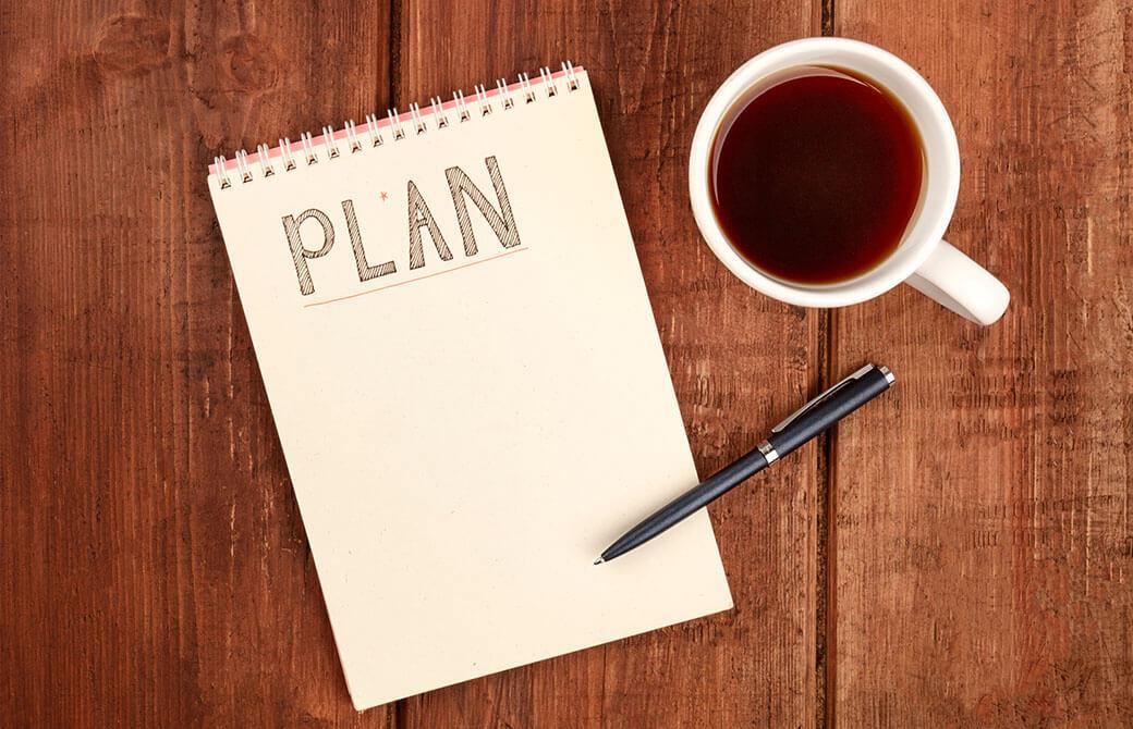 メモ帳に計画を書くところ