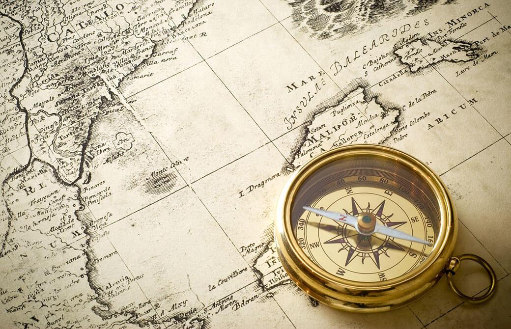 羅針盤と航海図