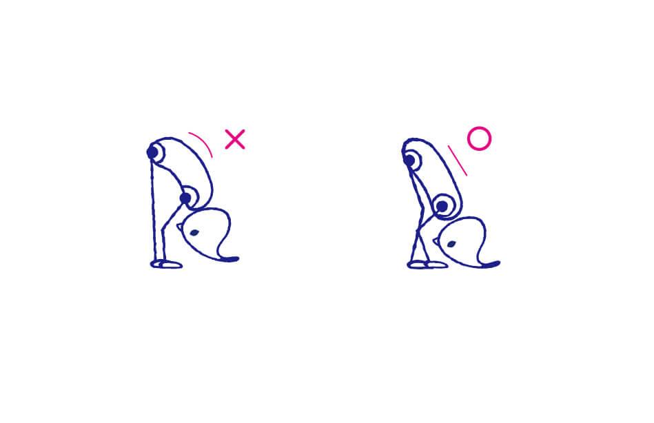 ウッターナーサナは、背中を伸ばすのがポイント