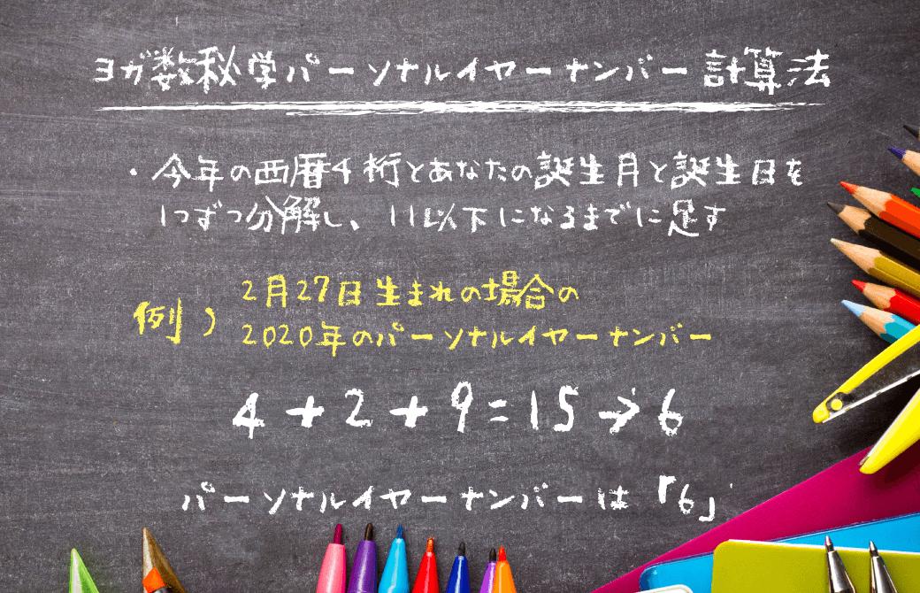 ヨガ数秘学:パーソナルイヤーナンバーの算出方法