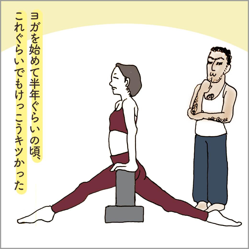 ヨガブロックを使ってハヌマーサナの練習中