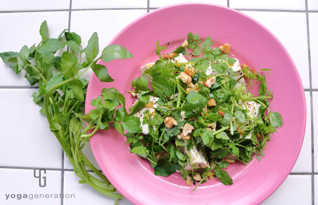 ピンクの皿に盛りつけたガーリック・レモンドレッシングでクレソンとお豆腐のサラダ