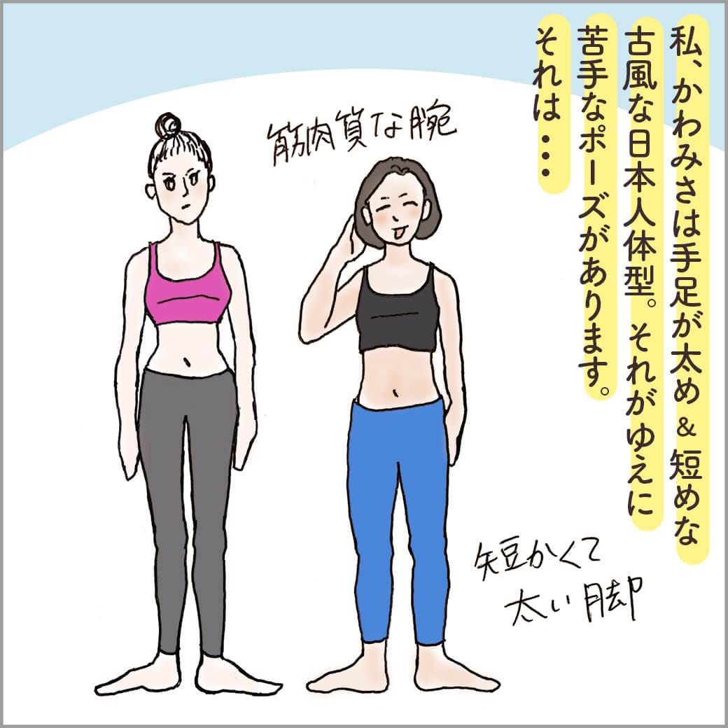 欧米人体型の女性と典型的な日本人体型の主人公
