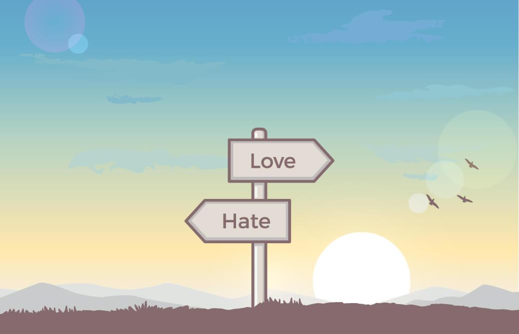 人間の感情が対象物に対して「好き」か「嫌い」かを決定している