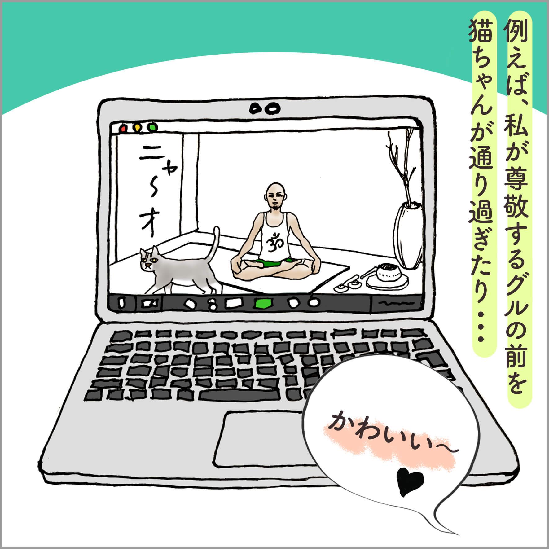 PCの画面に映るヨガの先生と猫