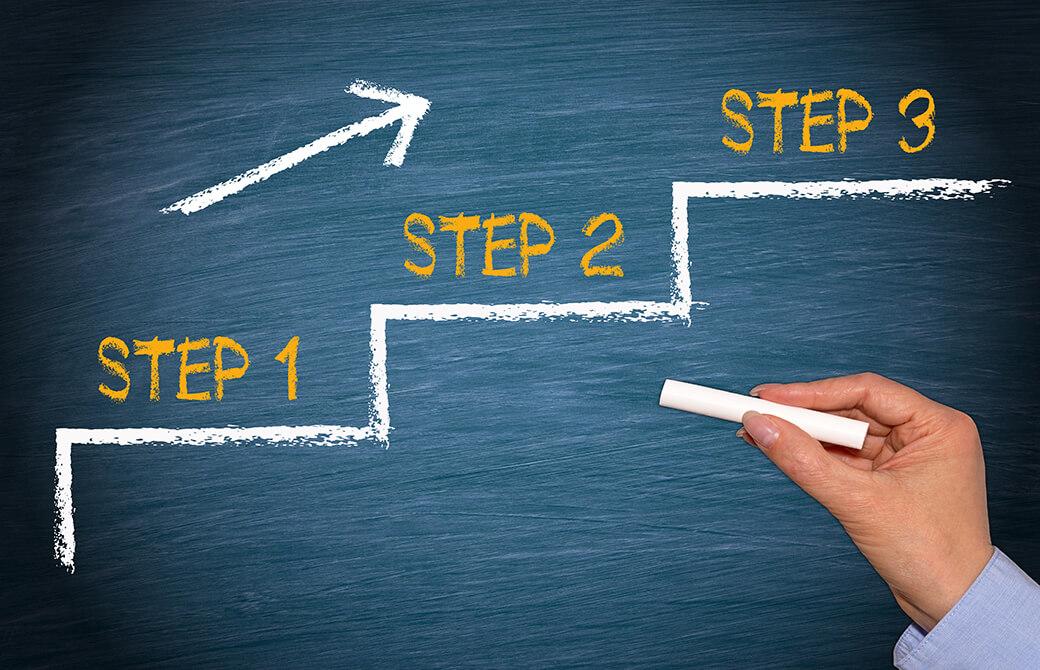 黒板に3つのステップの説明をする