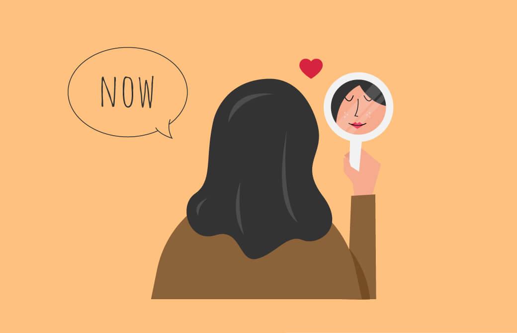 鏡を見る女性のイラスト