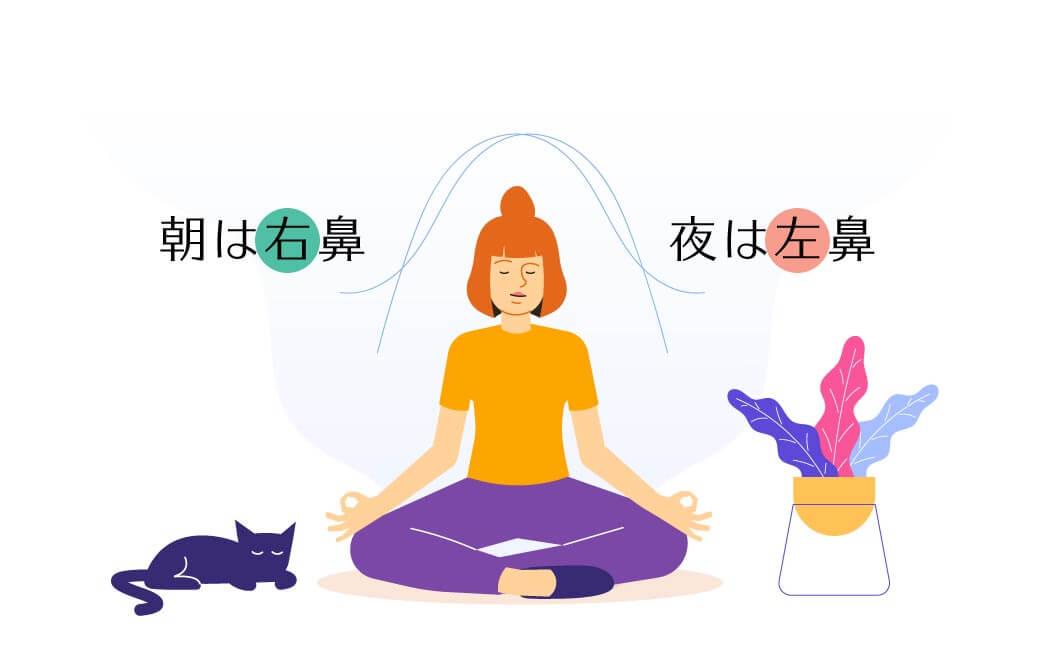 健康的な人であれば、一日の中で左右のどちらの鼻で呼吸をするのか、自然に規則正しく切り替わっている
