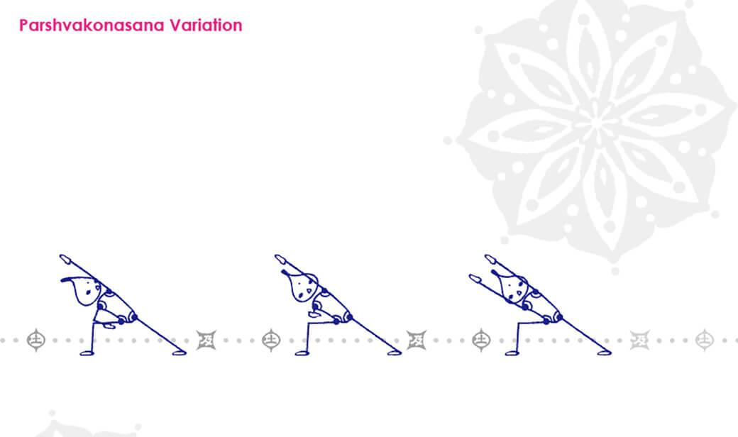パールシュヴァコナーサナのバリエーション:前肘にもたれない状態を作る