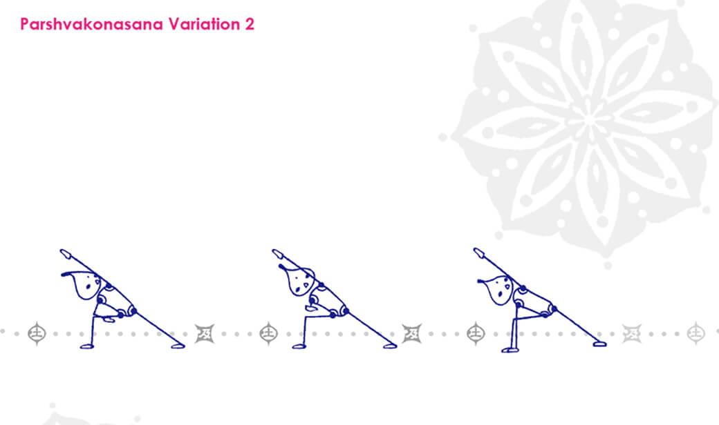 パールシュヴァコナーサナのバリエーション:股関節外旋への強度を高める
