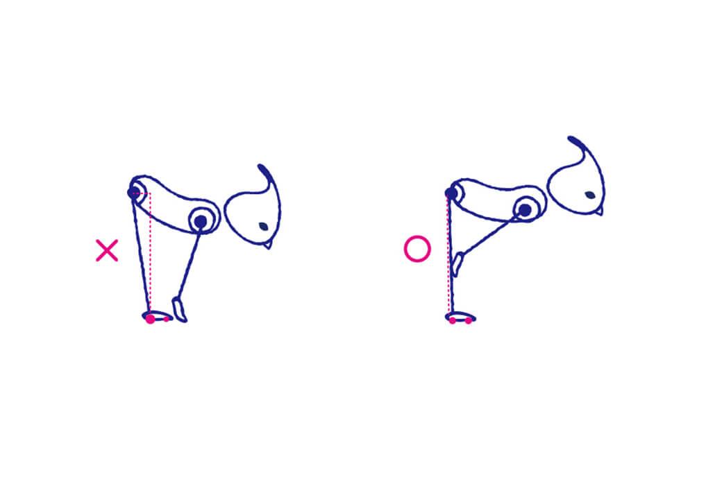 アルダウッターナーサナでは、お尻の位置に注意し背骨を前方に長く伸ばす
