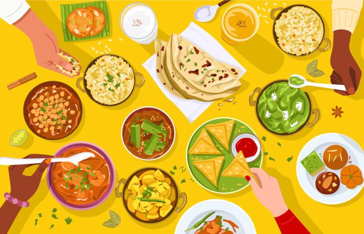 インド料理が並ぶテーブル