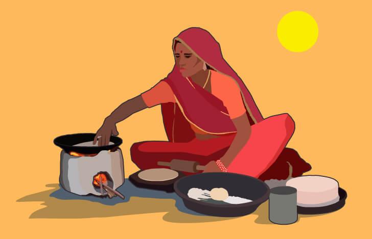 インド料理の調理風景