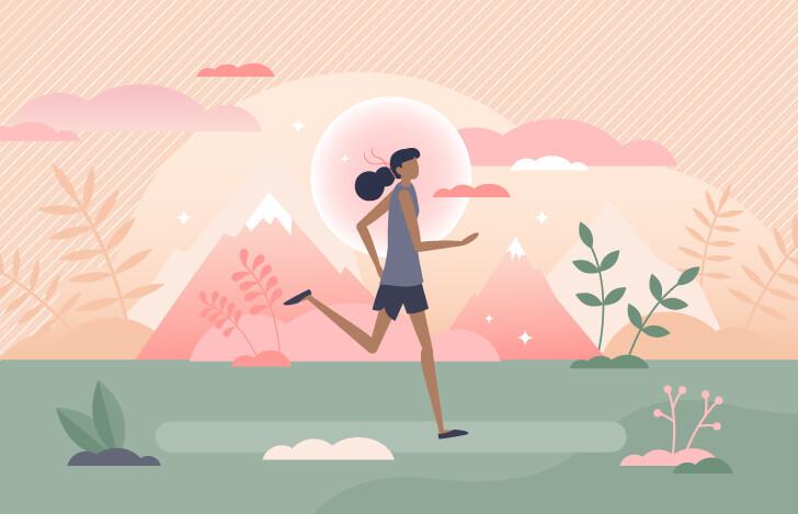 走る女性の全身の姿