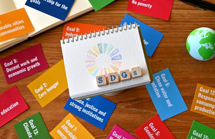 SDGsの文字と17の課題の書かれた色とりどりのカード