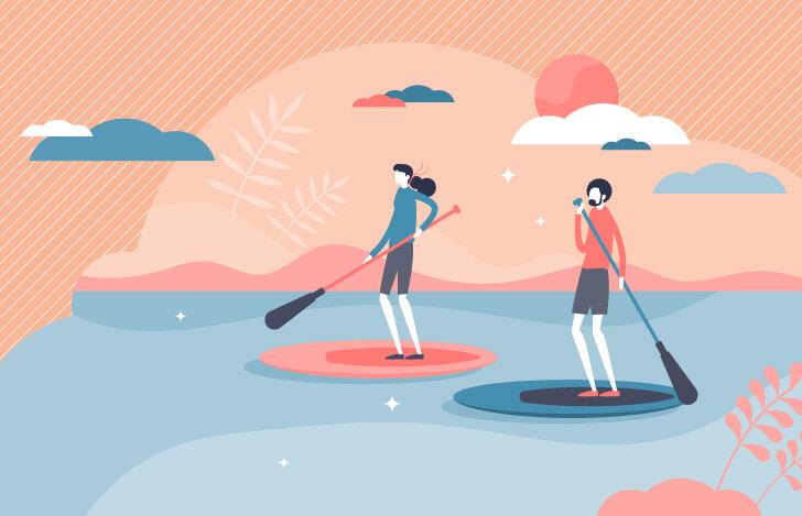 ボードに乗って川を漂いながれる2人