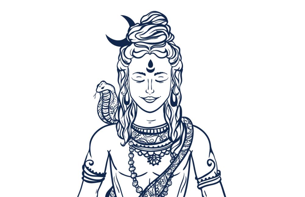 シヴァ神がヒマラヤで瞑想をする姿