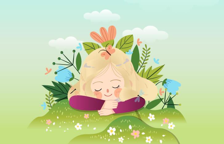 草花に包まれた幸せそうな少女