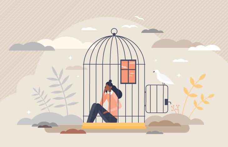 鳥籠に囚われた女性のイメージ