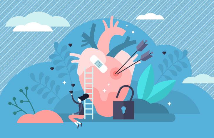 傷ついた心臓に寄りかかる女性のイメージ